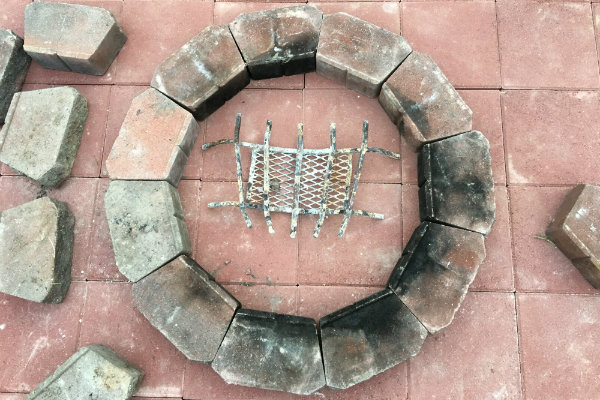 First ring of the DIY fire pit