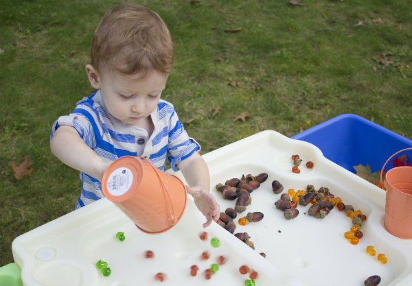 Teach children about Fall using acorns, leaves and the In & Out Activity Table