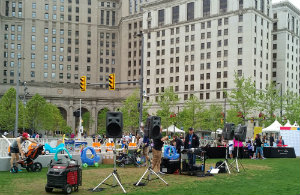 The kids' zone at Public Square on race day featured music and Simplay3 toys