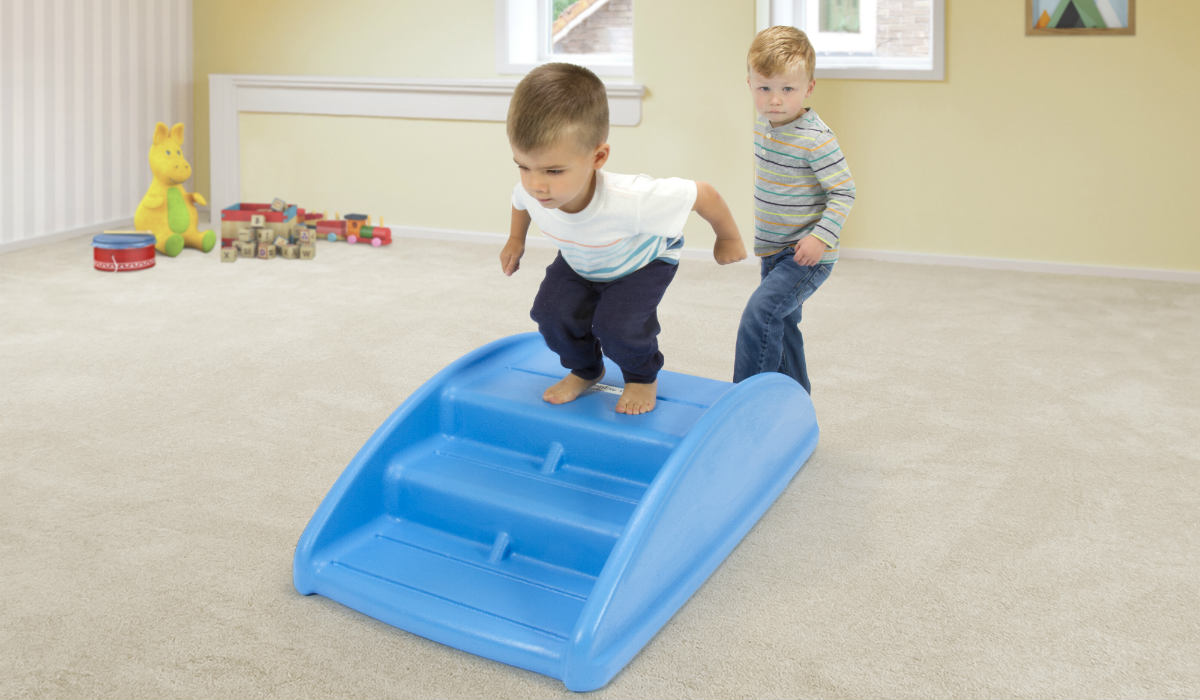 The Simplay3 Rocking Bridge promotes balance and imaginative play for toddlers.