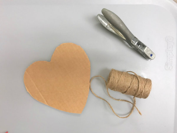 Supplies for Threading Hearts Fine Motor Skills Activity